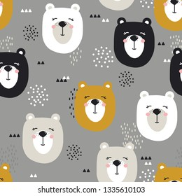 Seamless pattern, muzzles of bears, hand drawn overlapping backdrop. Colorful background vector. Illustration with animals. Decorative wallpaper, good for printing