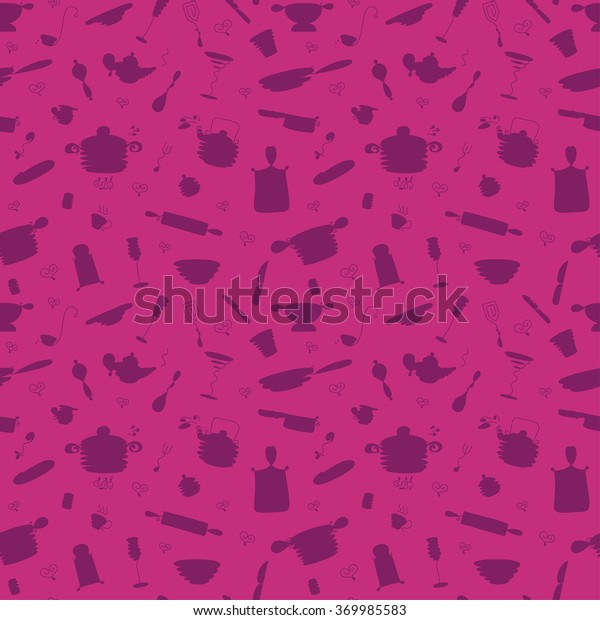 Seamless Pattern My Kitchen Include 31 Stock Vector Royalty