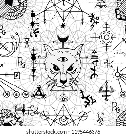 Seamless pattern with mystic cat, scarab beetle and geometric signs on white. Esoteric, occult and wicca concept, Halloween illustration with mystic symbols and sacred geometry