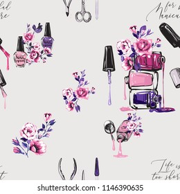 Seamless pattern with nail polish bottles and roses, manicure tools. Vector fashion illustrations with watercolor style paint splashes. Design for logo, t shirt and uniform for beauty salon.