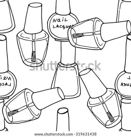 Seamless Pattern Nail Polish Fashion Vector Stock Vector Royalty