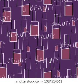 Seamless pattern with nail Polish, lipstick and beauty word.