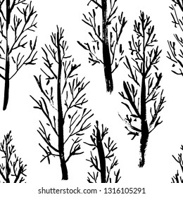 Seamless pattern with naked trees. Hand drawn grunge ink background. Vector illustration.