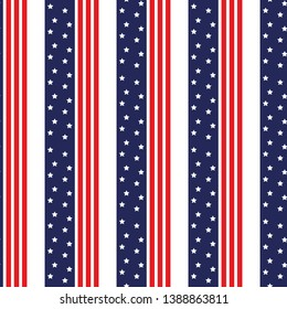 Seamless Pattern National USA Flag with Blue and Red Stars and stripes  Pattern suitable for posters, postcards, fabric or wrapping paper. eps10
