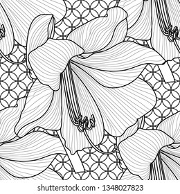 Seamless pattern with a natural ornament. Tropical vintage Amaryllis floral seamless pattern white background. Exotic jungle wallpaper.vector amaryllis flower with black line contour.