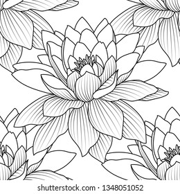 Seamless pattern with a natural ornament. Tropical vintage lotus flower, water lily seamless pattern white background. Lotus seed pods. Design for natural cosmetics, health care.
