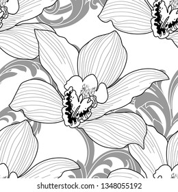 Seamless pattern with a natural ornament. Tropical vintage orchid floral seamless pattern white background. Exotic jungle wallpaper.Vector Orchid.