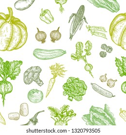 Seamless pattern of natural vegetables. Graphic vector hand drawing.