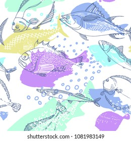 Seamless pattern of nature sea fish. Doodle art line. Realistic marine illustration on white background. Sketch, hatch. Vector art line set. Perch, cod, mackerel, flounder, saira. Organic food design
