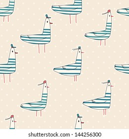 Seamless pattern of nautical birds; marine seagulls. Cartoon birds. Kid's elements for scrap-booking. Childish background. Hand drawn vector illustration.