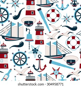 Seamless pattern of nautical design elements in flat style. Vector illustration.
