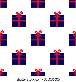 Seamless pattern with navy colored gift boxes with red ribbons and big red bows arranged in staggered rows and isolated on white background