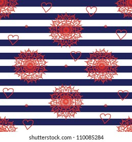 Seamless pattern with navy stripes, flowers and hearts.