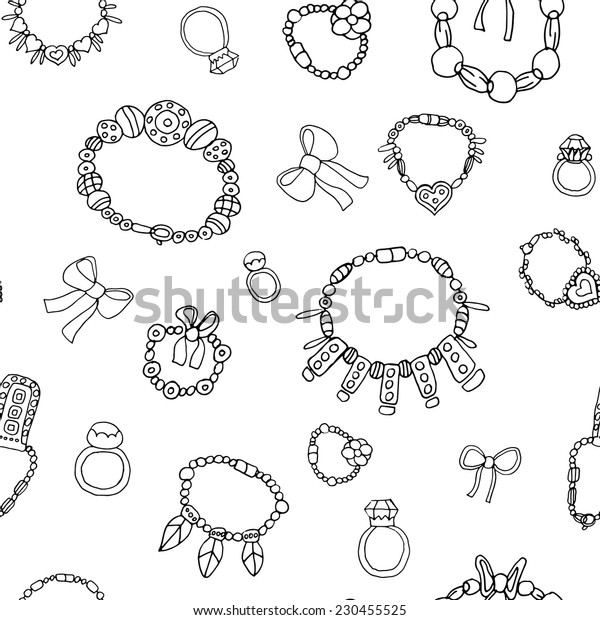 Seamless pattern with necklace 2