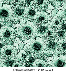 Seamless pattern with neo mint chrysanthemum flowers