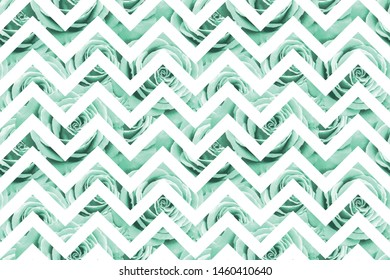 Seamless pattern with neo mint roses on white zig zag geometric background