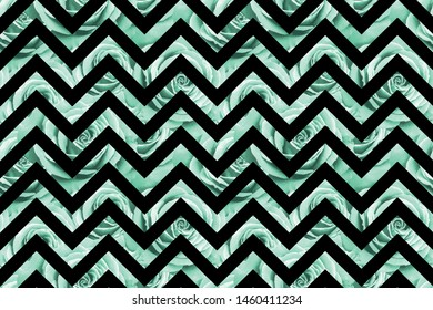 Seamless pattern with neo mint roses on black zig zag geometric background