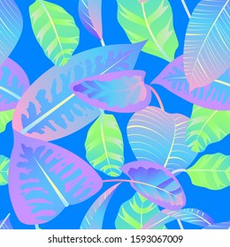 Seamless pattern with neon gradient tropical leaves. Vector illustration.