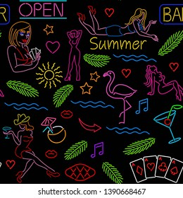 Seamless pattern with neon signs, casino, tropical palm leaves, beautiful girls, night club