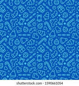 Seamless pattern of new year icons