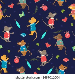 Seamless pattern with New Year symbols. Happy winter holidays. Cute childish illustration with mice, Xmas tree branches, Christmas balls, winter clothes. Colorful cartoon mouse (rat) in clothes.