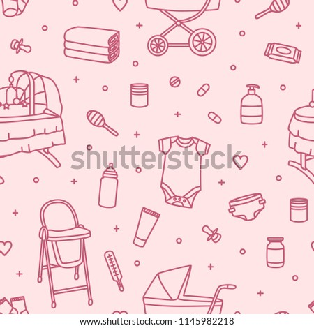 097300c7a Seamless Pattern Newborn Baby Care Products Stock Vector (Royalty ...