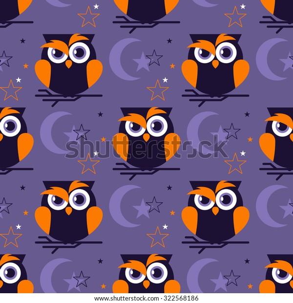 Seamless Pattern Night Owl Moon Stars Stock Vector (Royalty Free