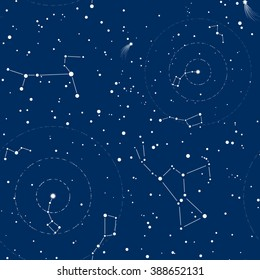 Seamless pattern of night sky with Pole Star, comet and constellations of Orion, Ursa Major, Ursa Minor, Canis Major.