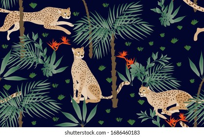 Seamless pattern with night tropical print on a black background. Running, hunting and seated jaguars in the jungle. Trees, palm leaves, plants, Strelitzia flowers and animals of the rainy forest.