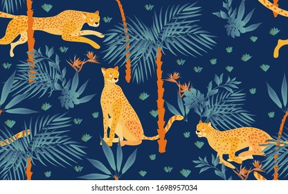 Seamless pattern with night tropical print on a indigo blue background. Running, hunting and seated jaguars in the jungle. Trees, palm leaves, plants,Strelitzia flowers and animals of the rainy forest
