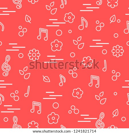 seamless pattern notes flowers leaves template stock vector royalty