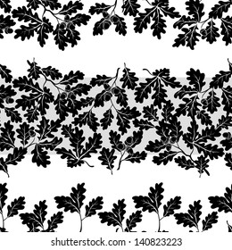 Seamless pattern, oak branches and acorns, black silhouettes on white background. Vector