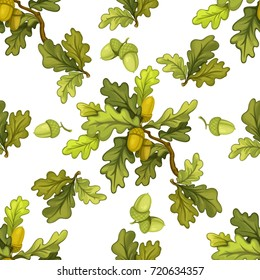 Seamless pattern from oak tree branches with green leaves and acorns object isolated on white background