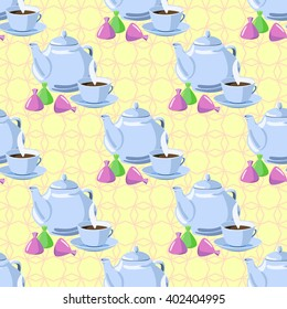 Seamless pattern with objects for tea. Kettle, teapot, cup, candy.