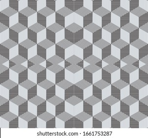 Seamless pattern with oblique black segments(cube)