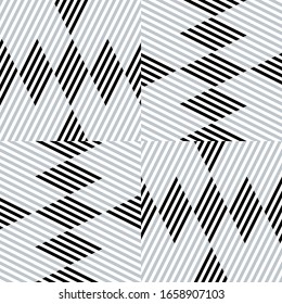 Seamless pattern with oblique black and silver gray segments