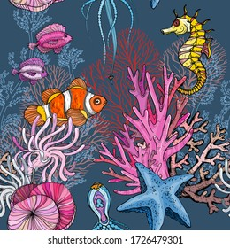 Seamless pattern with ocean marine life, clown fish in anemones, vector illustration