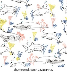 Seamless pattern - Oceans dwellers and corals