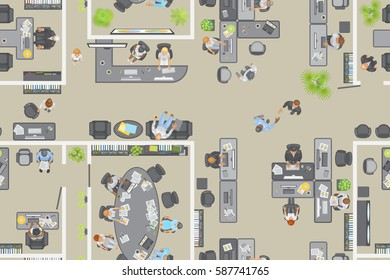 Seamless pattern. Office top view. People at work. Office room, meeting room, reception, office furniture, cabinets, desks, chairs, computers. (view from above)