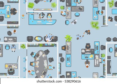 Seamless pattern. Office view from above. People at work. Office room, meeting room, reception, office furniture, cabinets, desks, chairs, computers. (top view)