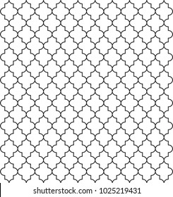 Seamless pattern with ogee ornament. Oriental traditional elements with repeated rounded shapes. Openwork silhouette with a lacy decor. Vector white and black islamic background illustration.