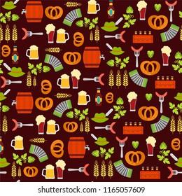 Seamless pattern of Oktoberfest. Oktoberfest beer festival icons. Oktoberfest symbol: mug, bottle, snack, beer ingredients.