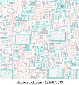 Seamless pattern with old appliances. E-waste elements. Line style vector illustration. Suitable for wallpaper or wrapping