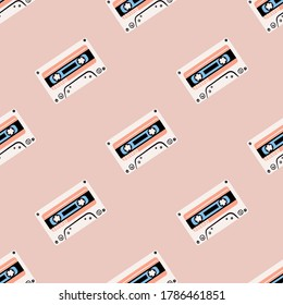 Seamless pattern with old audio cassetes.cassetes audio. Retro background. Vector illustration