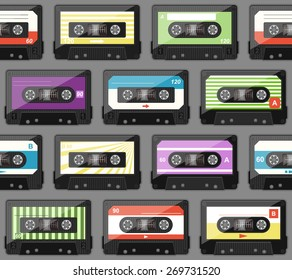 seamless pattern with old audio cassettes