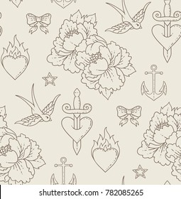 Seamless pattern with old fashion tattoo
