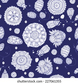 Seamless pattern with old flowers dark blue