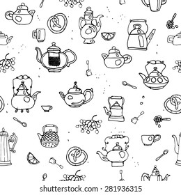 Seamless pattern with old kettles for restaurants, bars, grunge, wallpaper. vector