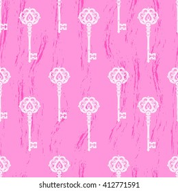 Seamless pattern of old keys. The pattern of the keys on a simple vintage background. Antique key vector pattern. Pattern of old keys on a simple pink background.