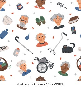 Seamless pattern with Old people. Portraits of Elderly persons and nursing home items on white background, medical care concept. Nursing home. Senior people healthcare assistance flat Vector